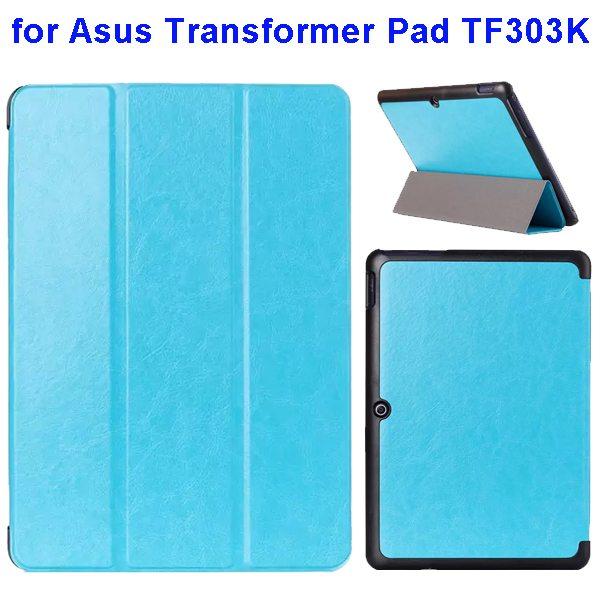 Crazy Horse Texture Three Folio Flip Cover for Asus Transformer Pad TF303K (Light Blue)