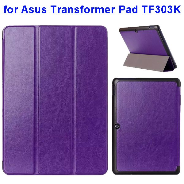 Crazy Horse Texture Three Folio Flip Cover for Asus Transformer Pad TF303K (Purple)