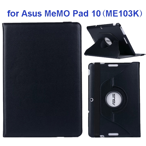 360 Degree Rotation Flip Leather Case for Asus MeMO Pad 10 ME103K (Black)