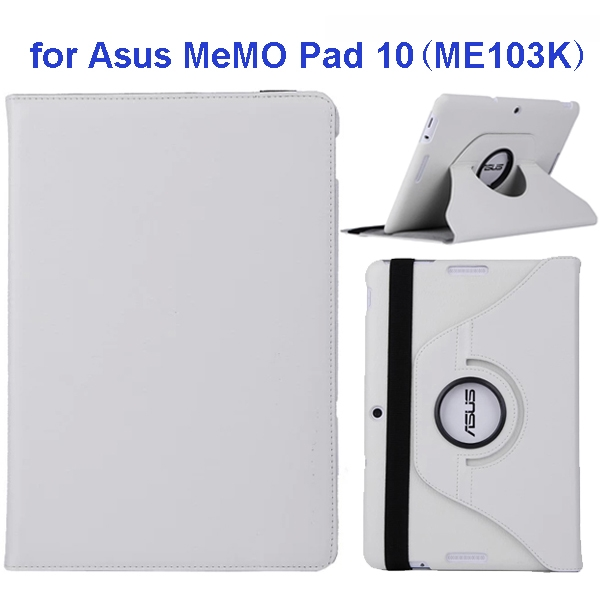360 Degree Rotation Flip Leather Case for Asus MeMO Pad 10 ME103K (White)