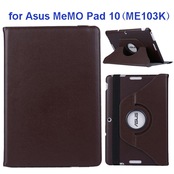 360 Degree Rotation Flip Leather Case for Asus MeMO Pad 10 ME103K (Brown)