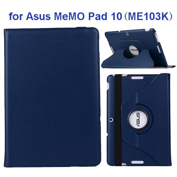 360 Degree Rotation Flip Leather Case for Asus MeMO Pad 10 ME103K (Blue)