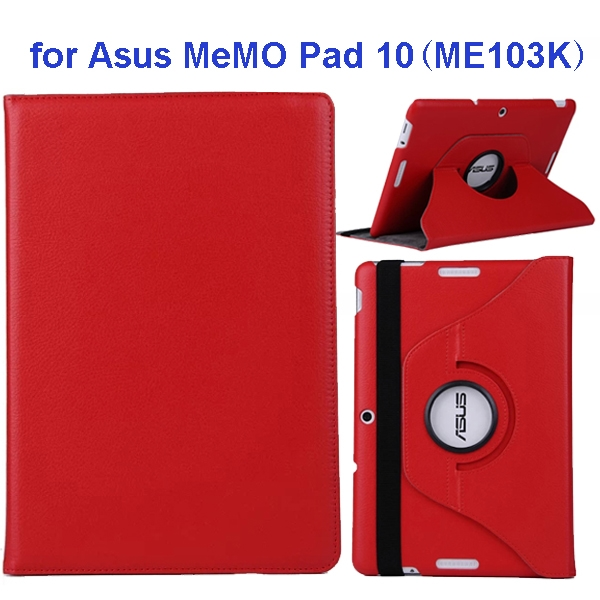 360 Degree Rotation Flip Leather Case for Asus MeMO Pad 10 ME103K (Red)