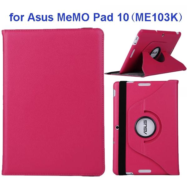 360 Degree Rotation Flip Leather Case for Asus MeMO Pad 10 ME103K (Rose)