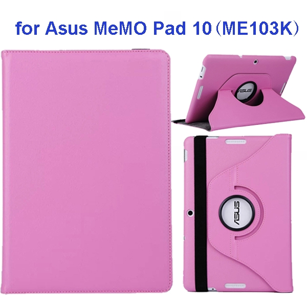 360 Degree Rotation Flip Leather Case for Asus MeMO Pad 10 ME103K (Pink)
