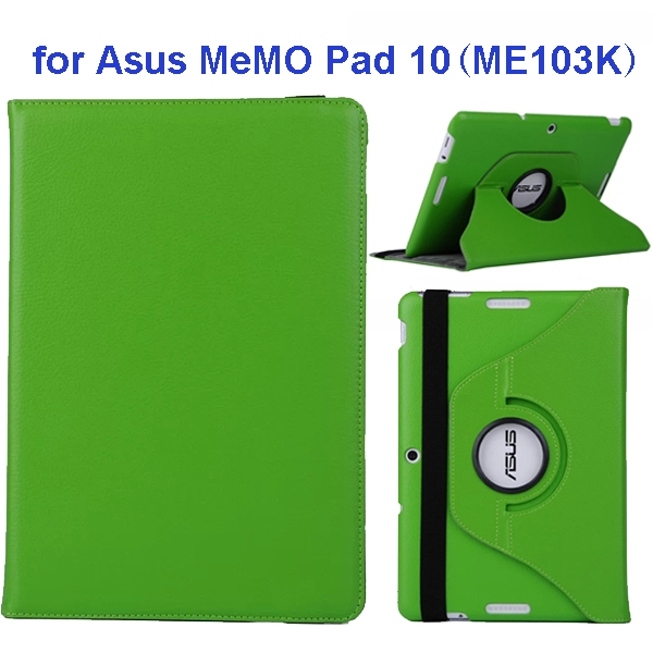 360 Degree Rotation Flip Leather Case for Asus MeMO Pad 10 ME103K (Green)