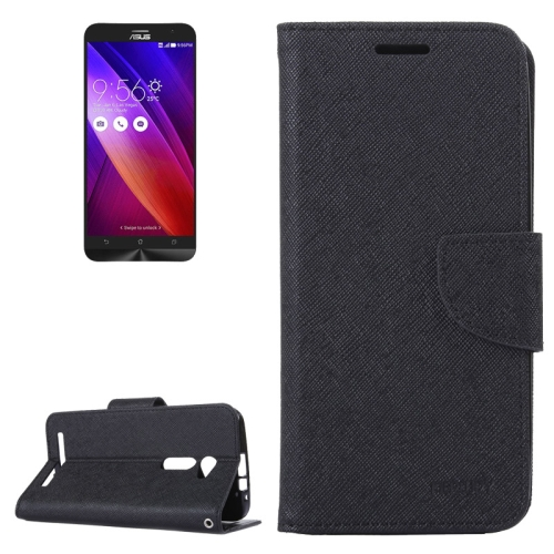 MERCURY Cross Texture Flip Leather Wallet Case for Asus ZenFone 2 with Card Slots & Stand (Black)
