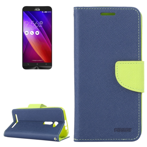 MERCURY Cross Texture Flip Leather Wallet Case for Asus ZenFone 2 with Card Slots & Stand (Blue)
