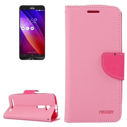 MERCURY Cross Texture Flip Leather Wallet Case for Asus ZenFone 2 with Card Slots & Stand (Pink)