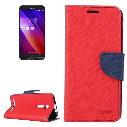 MERCURY Cross Texture Flip Leather Wallet Case for Asus ZenFone 2 with Card Slots & Stand (Red)