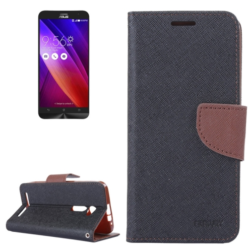 MERCURY Cross Texture Flip Leather Wallet Case for Asus ZenFone 2 with Card Slots & Stand (Brown)