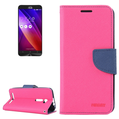 MERCURY Cross Texture Flip Leather Wallet Case for Asus ZenFone 2 with Card Slots & Stand (Rose)