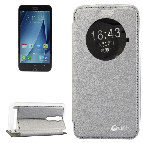 5.5 Inch UFO Orange Peel Texture Leather Case for Asus Zenfone 2 with Holder (Grey)