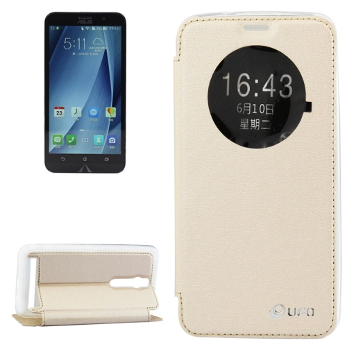 5.5 Inch UFO Orange Peel Texture Leather Case for Asus Zenfone 2 with Holder (Gold)