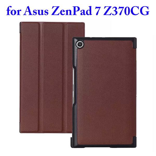 3 Folding Flip Stand PU Leather Case for Asus ZenPad 7 Z370CG (Brown)