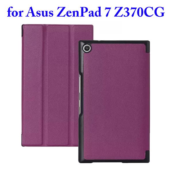 3 Folding Flip Stand PU Leather Case for Asus ZenPad 7 Z370CG (Purple)