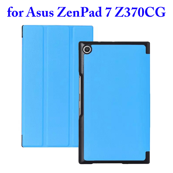 3 Folding Flip Stand PU Leather Case for Asus ZenPad 7 Z370CG (Baby Blue)