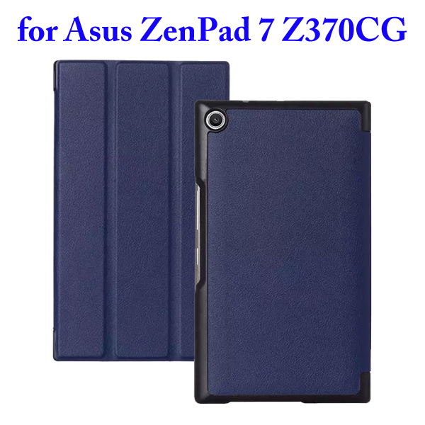 3 Folding Flip Stand PU Leather Case for Asus ZenPad 7 Z370CG (Blue)