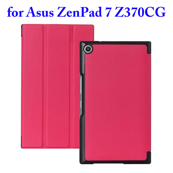 3 Folding Flip Stand PU Leather Case for Asus ZenPad 7 Z370CG (Rose)