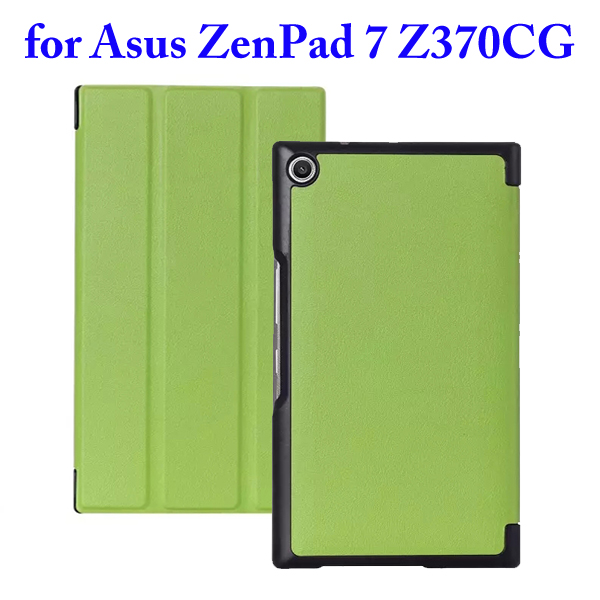 3 Folding Flip Stand PU Leather Case for Asus ZenPad 7 Z370CG (Green)