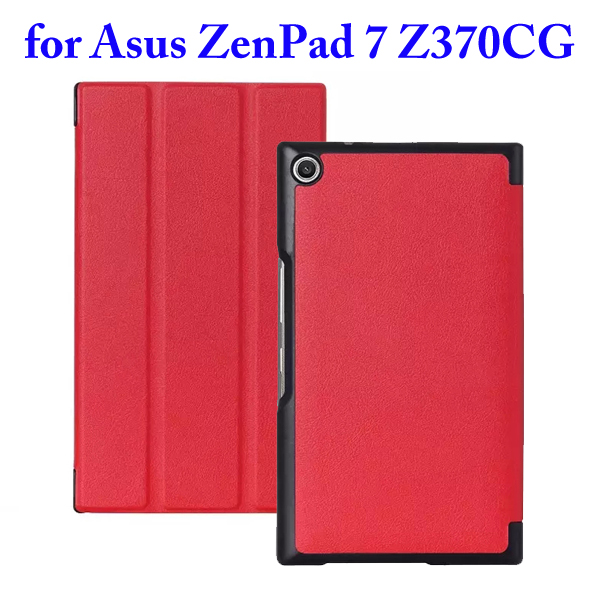 3 Folding Flip Stand PU Leather Case for Asus ZenPad 7 Z370CG (Red)