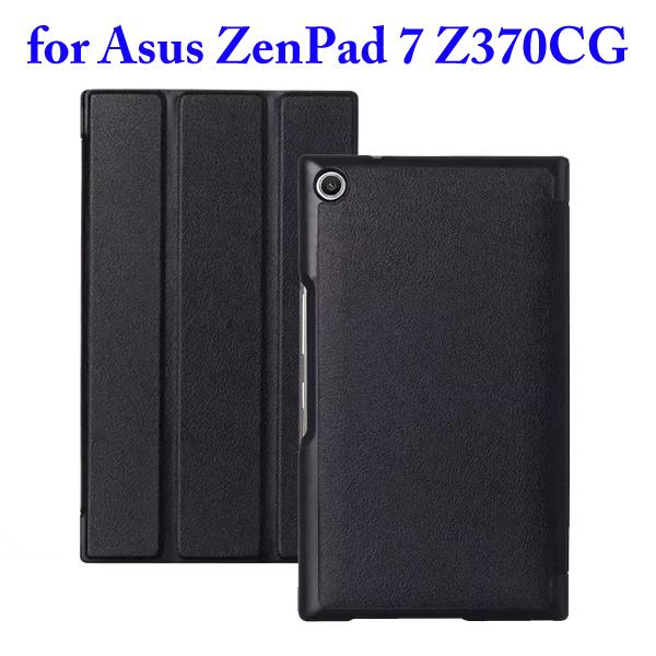 3 Folding Flip Stand PU Leather Case for Asus ZenPad 7 Z370CG (Black)