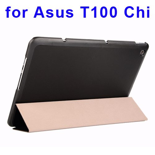 Crazy Horse Texture Leather Case for Asus T100 Chi with 3-folding Holder (Black)