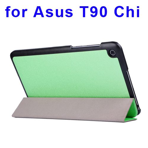 Nice Design Silk Texture Leather Case for Asus T90 Chi with 3-folding Holder (Green)