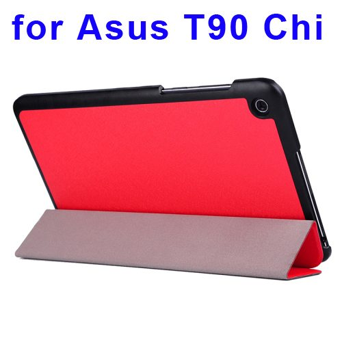 Nice Design Silk Texture Leather Case for Asus T90 Chi with 3-folding Holder (Red)