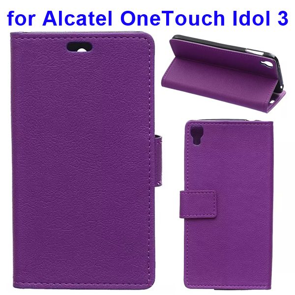 Karst Texture Flip Leather Wallet Case for Alcatel One Touch Idol 3 5.5 Inch with Card Slots (Purple)
