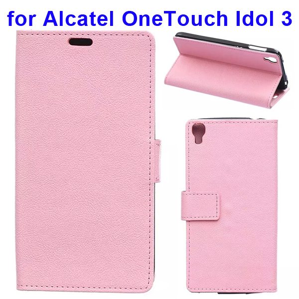 Karst Texture Flip Leather Wallet Case for Alcatel One Touch Idol 3 5.5 Inch with Card Slots (Pink)