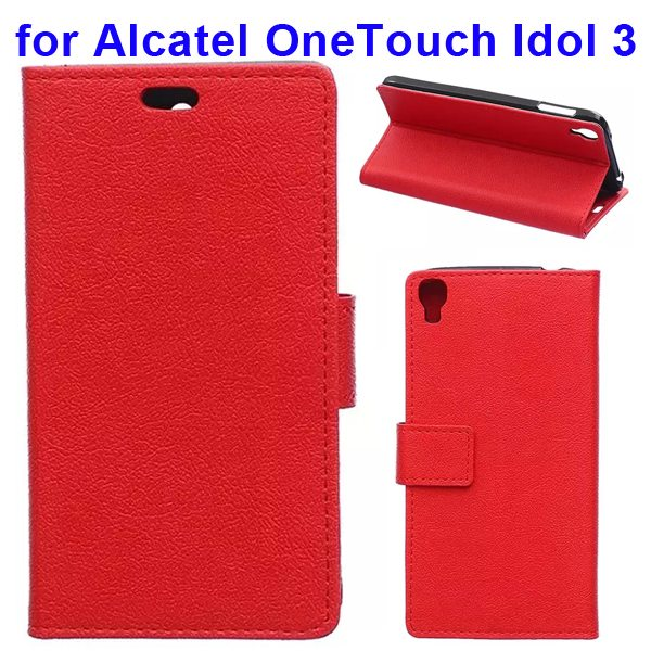 Karst Texture Flip Leather Wallet Case for Alcatel One Touch Idol 3 5.5 Inch with Card Slots (Red)