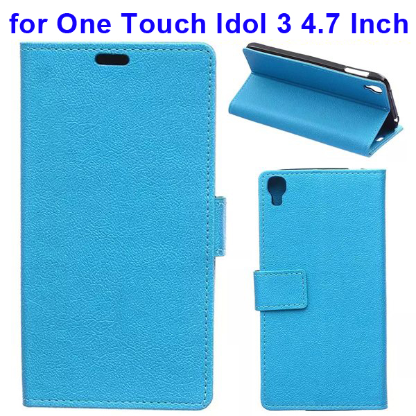 Karst Texture Flip Leather Wallet Case for Alcatel One Touch Idol 3 4.7 Inch with Card Slots (Blue)