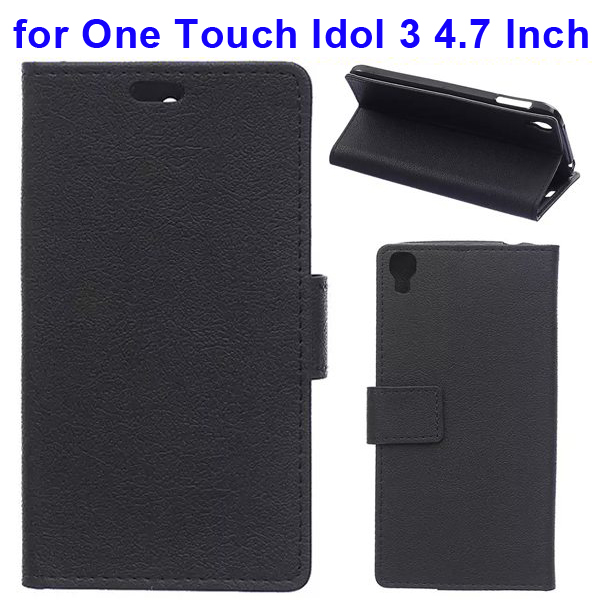 Karst Texture Flip Leather Wallet Case for Alcatel One Touch Idol 3 4.7 Inch with Card Slots (Black)