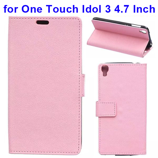 Karst Texture Flip Leather Wallet Case for Alcatel One Touch Idol 3 4.7 Inch with Card Slots (Pink)