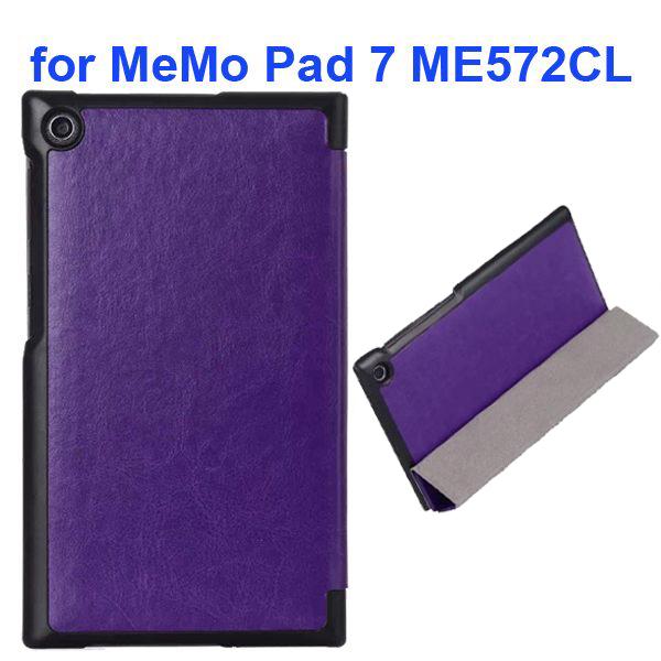 Crazy Horse Texture 3 Folding Flip Leather Tablet Case for Asus MeMo Pad 7 ME572CL (Purple)