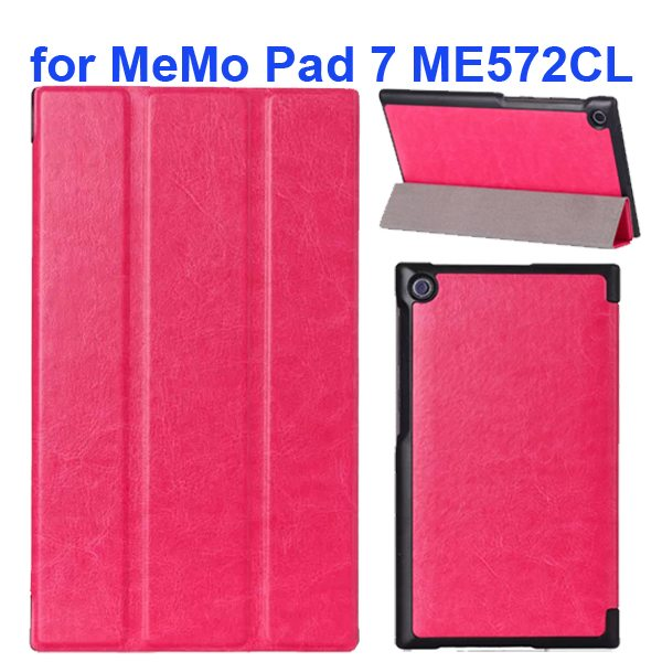 Crazy Horse Texture 3 Folding Flip Leather Tablet Case for Asus MeMo Pad 7 ME572CL (Rose)