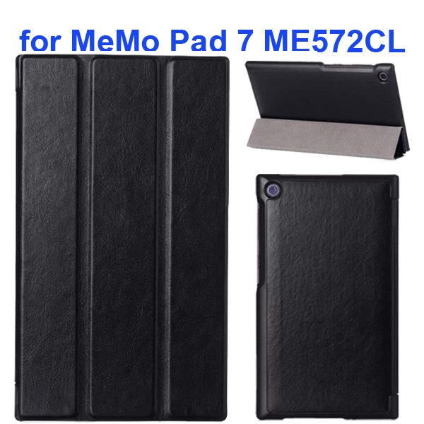 Crazy Horse Texture 3 Folding Flip Leather Tablet Case for Asus MeMo Pad 7 ME572CL (Black)