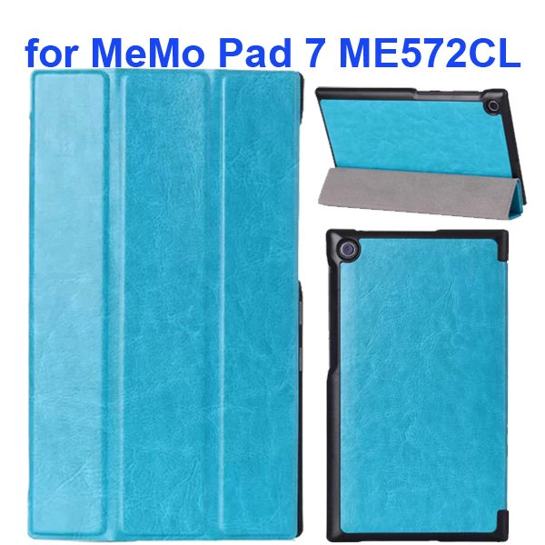 Crazy Horse Texture 3 Folding Flip Leather Tablet Case for Asus MeMo Pad 7 ME572CL (Blue)