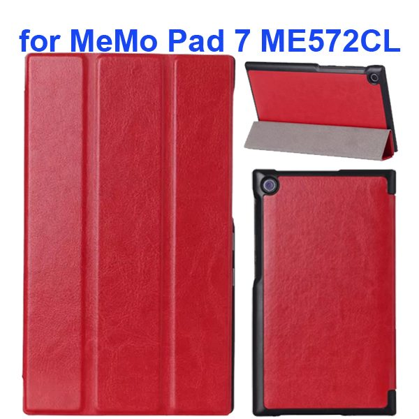 Crazy Horse Texture 3 Folding Flip Leather Tablet Case for Asus MeMo Pad 7 ME572CL (Red)