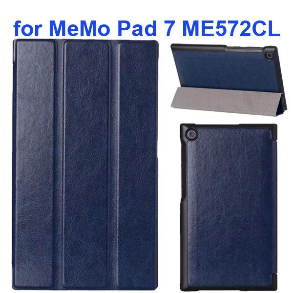 Crazy Horse Texture 3 Folding Flip Leather Tablet Case for Asus MeMo Pad 7 ME572CL (Dark Blue)