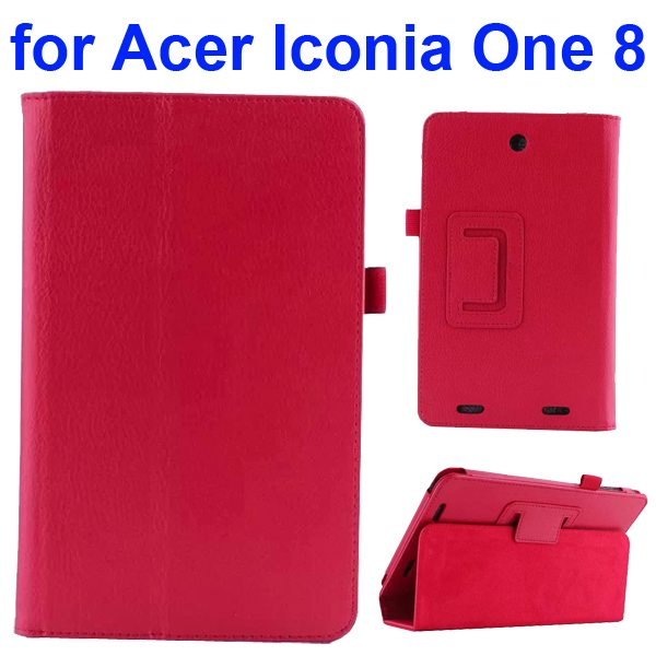Litchi Texture Folio Leather Cover for Acer Iconia One 8 B1-810 with kickstand (Red)