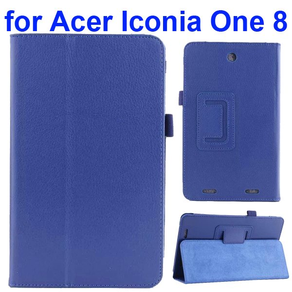 Litchi Texture Folio Leather Cover for Acer Iconia One 8 B1-810 with kickstand (Dark Blue)
