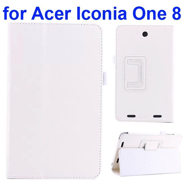 Litchi Texture Folio Leather Cover for Acer Iconia One 8 B1-810 with kickstand (White)