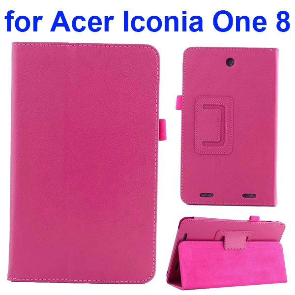 Litchi Texture Folio Leather Cover for Acer Iconia One 8 B1-810 with kickstand (Rose)