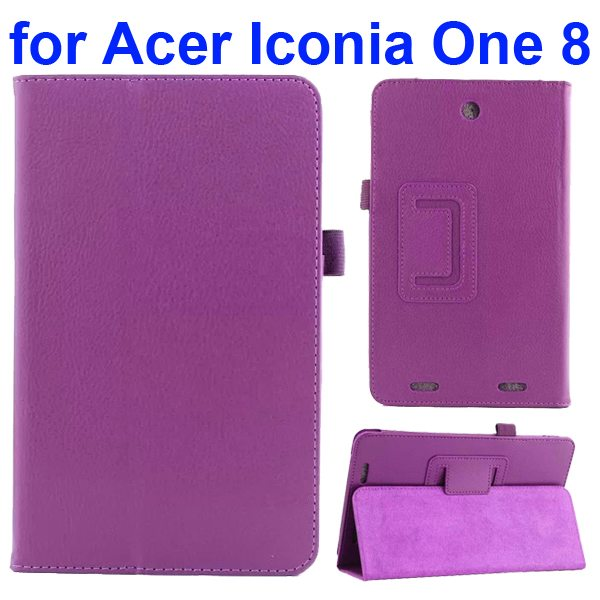 Litchi Texture Folio Leather Cover for Acer Iconia One 8 B1-810 with kickstand (Purple)
