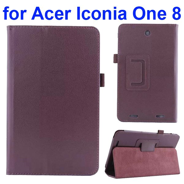 Litchi Texture Folio Leather Cover for Acer Iconia One 8 B1-810 with kickstand (Brown)