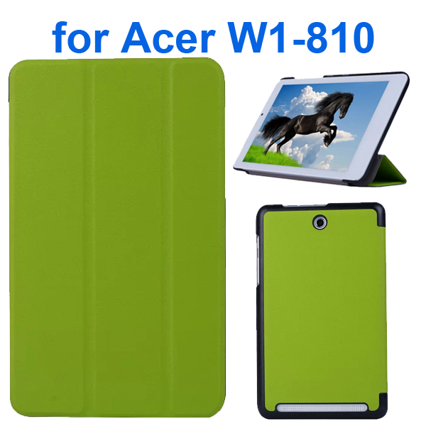 Karst Texture 3 Folding Pattern Flip Leather Case for Acer Iconia Tab 8 W1-810 (Green)