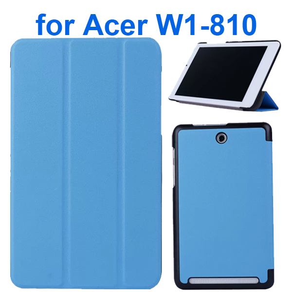 Karst Texture 3 Folding Pattern Flip Leather Case for Acer Iconia Tab 8 W1-810 (Light Blue)