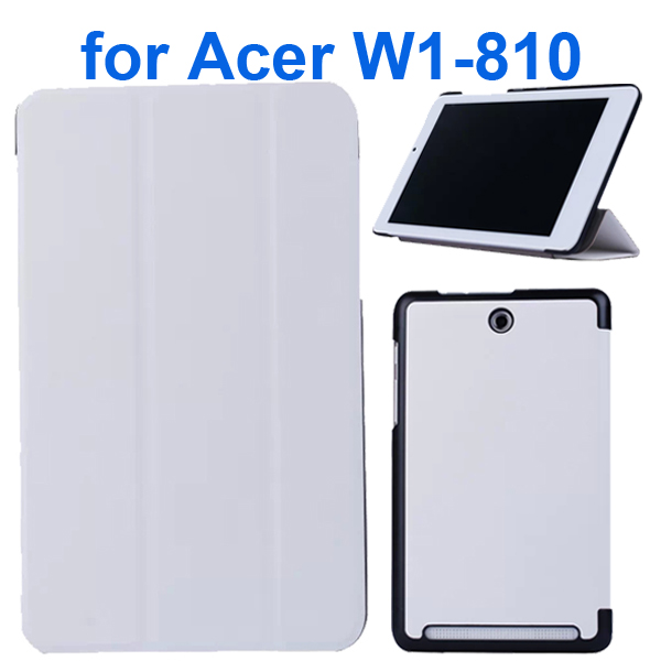 Karst Texture 3 Folding Pattern Flip Leather Case for Acer Iconia Tab 8 W1-810 (White)